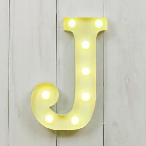 CIRCUS STYLE LED LIGHT UP METAL LETTER - J 'RUSTIC' EFFECT