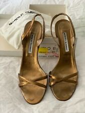 Manolo Blahnik Used Gold Sandals with Box 41