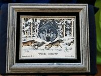 Montana Marble 'The Hunt' By Bernie Brown 1991-Rare Colored Marble Art w/ Wolves