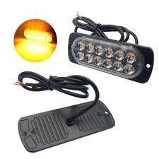 2x Car Amber Recovery Strobe 12 LED Flashing Light Grill Breakdown Beacon Lamp