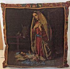 "Nativity MARY & BABY JESUS tapestry Christmas Pillow 15"" x 15"""