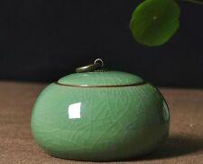 1pc China Longquan Celadon Ceramic Tea Caddy Tin Sealed Canisters