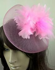 baby pink feather fascinator millinery burlesque wedding hat bridal race ascot