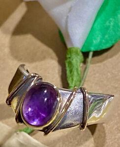 Native American Artisan PJ NAVAJO Amethyst 14k Gold Sterling Silver 925 Ring