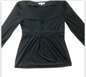 KAREN COLE Designer Black Top Size S (10) Boho Gothic Layering Lagenlook