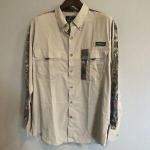 Men's Fishouflage Button Down Fishing Shirt Long Sleeve Large