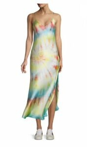 NWT Dannijo White Rainbow Tie Dye Silk Slip Dress Maxi Long Gown XS