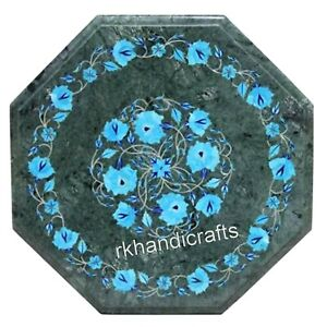 14 Inch Green Marble Inlay Table Top Luxurious Coffee Table with Turquoise Stone