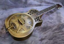 More details for minolian parlour resonator - 14 fret - 'antique' brass body
