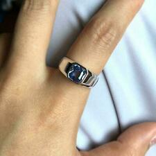 1CT Cushion Cut Aquamarine Solitaire Men's Engagement Ring 14K White Gold Finish