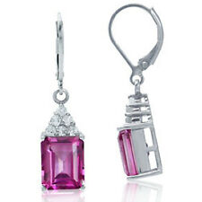 Pink Topaz Baguette Gemstone Dangle Leverback Sterling Silver Earrings