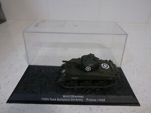 Diecast Metal Tank M4A3 SHERMAN USA 5th ARMY FRANCE 1945 1/76 Model Painted