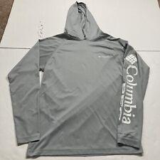 Columbia Pfg Omni-Shade Terminal Tackle Hoodie Hoody Fish Sun Shade Fly Grey