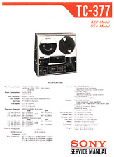 SONY TC-377 TAPE RECORDER  Service and User Manuals