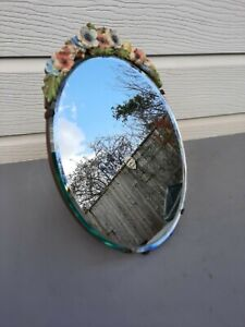 """Barbola Oval easel beveled mirror 13"""" high (33cm) nice condition for age ref B1"""