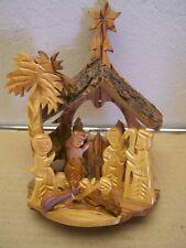 Carved Olive Wood Nativity Scene, Type 1 - Jerusalem, Holy Land