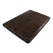 IPAD AIR RETINA LEATHER CROCODILE CASE COVER STAND SCREEN PROTECTOR SMART BROWN