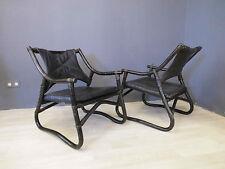 2x Sessel Bambus & Leder Easy Chair Fauteuil 70er 70s Design Entwurf vintage