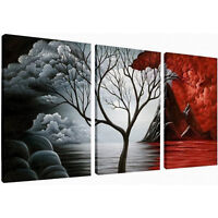 Abstract Canvas Print Photo Picture Wall Art Home Decor Tree Red Black Framed