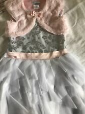 Girls Winter white Dress with Sequins & Sparkle with Pink fur, size 5