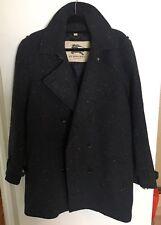 Mens BURBERRY LONDON Heavy TWEED Peacoat Jacket Coat Overcoat 40R