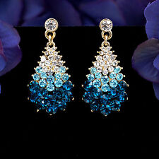 blue  rhinestone Crystal dangle  earrings bridal/prom   Fashion earrings e 12