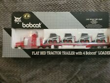 Bobcat 1:50 Scale DIE-CAST Flat Bed Tractor Trailer With 4 Bobcat Loaders