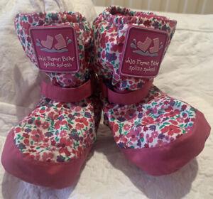 Jojo Maman Bebe Fleece Lined Snowboots - Booties - 6-12 Months - Pink Flowers