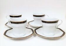 8 Pc Set Porcelain Christopher Stuart White,Black,Gold Octagon 4 Teacup+4 Saucer
