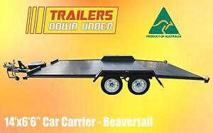 14x6'6 BEAVER TAIL CAR CARRIER TRAILER   CHECKERPLATE FLOOR   TANDEM AXLE