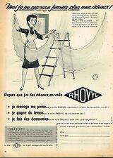D- Publicité Advertising 1955 Les Rideaux Voile Rhovyl par Jean Bellus