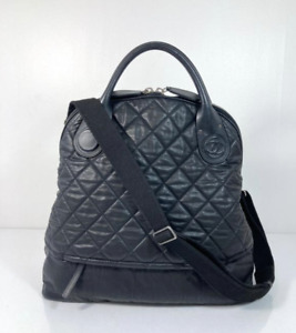 CHANEL Calf Leather Quilted Black 2 Way Satchel Travel Handbag