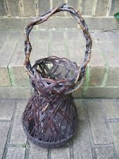 New Listing Antique Japanese Meiji Period Woven Ikebana Basket with Handle Bamboo and Vine