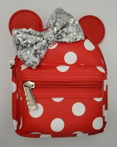Disney Parks Loungefly Mini Mouse White Polka Dot Leather Mini Wristlet Backpack