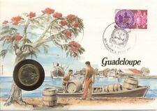 superbe enveloppe GUADELOUPE ANTILLES pièce monnaie 20 CTS 1984 UNC NEW timbre