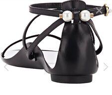Lavin Opanka Flat Sandals With Pearls Lambskin  Black Size 36
