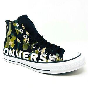 Converse Chuck Taylor All Star Hi Black Camo Mens Casual Sneakers 166232F