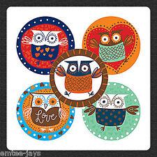 OWLS STICKERS x 15 - Favours,Teacher's rewards, Seals, Loot Bag - Owl Stickers