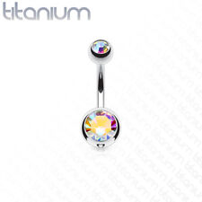Solid Titanium Double CZ Gem Ball Belly Ring Pierced Navel Naval