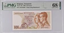 Belgium 50 Francs 1966 P 139 Superb Gem UNC PMG 68 EPQ Top Pop