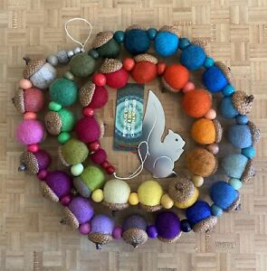 Wool Felt and Wood Bead Garland Home Decor Rainbow US Seller Made In Maine