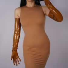 LATEX LONG GLOVES Caramel Shine Faux Patent  Leather  Opera Evening 70cm