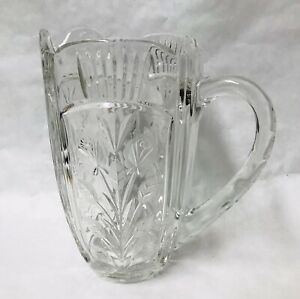 Gorgeous Lead Crystal Water Pitcher, Etched Flowers And Leaves. Heavy