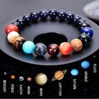 Unisex Acht Planeten Perlen Armband Naturstein Universum Yoga Chakra iGRYp