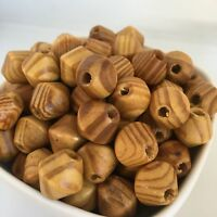 25X Wooden Bead 16mm Natural Honey Varnished Bicone Wood Beads DIY Macrame Craft