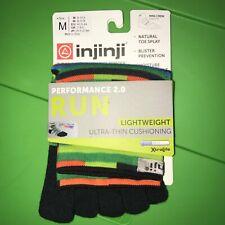 Injinji Toe Socks Running Mini Crew Spiffy - Lightweight Medium - Striped