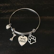 I Love My Rescue Pet Dog Pit Bull Terrier Charm Bangle Bracelet Jewelry Gift