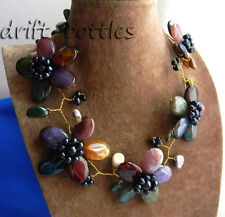 Nature 19'' 60mm Multicolor Agate Freshwater Pearl Flower Stone Necklace