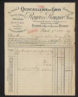 """PARIS (IV°) QUINCAILLERIE en gros """"ROYER & ROUGIER Freres"""" en 1895"""
