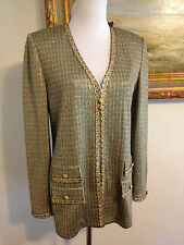 St. John Knit Gold Black Green Crystal Bead Jacket Sweater Blazer Size 4 6